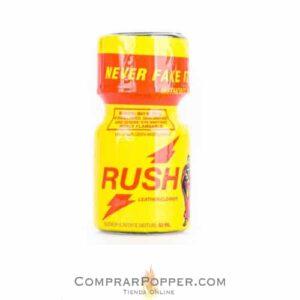 popper rush pequeño de 9 ml con tapón de seguridad y el logo de la tienda online de popper en España