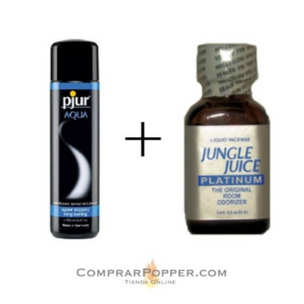 pack jungle juice y lubricante agua pjur popper