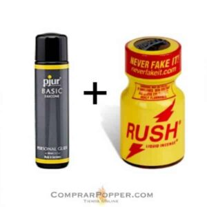 popper rush y lubricante silicona de la marca Pjur, en popper comprar