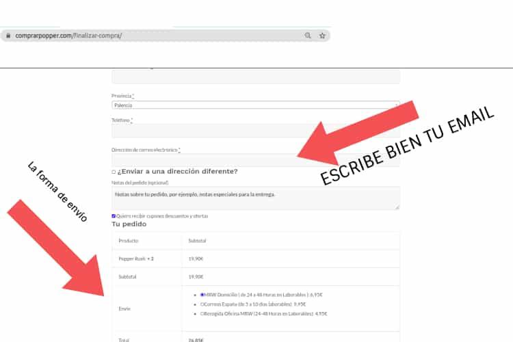 forma de envío y email correctamente en comprar popper