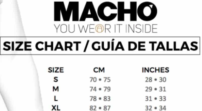 cuadro de tallas del calzoncillo con trompa de la marca Macho