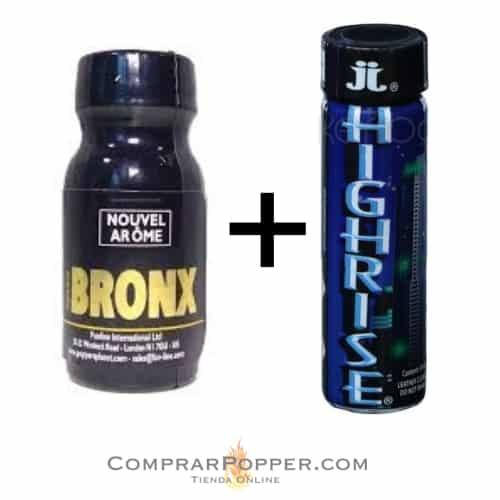 pack highrise tapón negro y bronx con el logo de la tienda