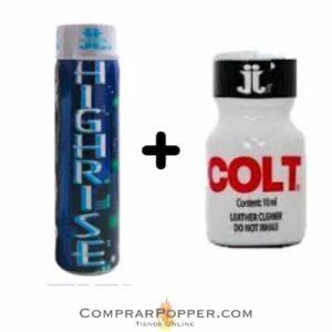 popper highrise tapón blanco y popper colt pequeño con la imagen del logo de la tienda