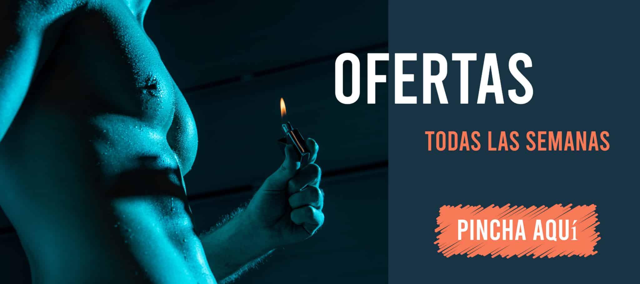 imagen con un torso de hombre con un mechero ofreciendo las ofertas de nuestra tienda online de poppers.